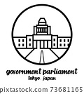 Circle icon line Government parliament of Japan. vector illustration 73681165