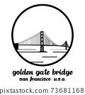 Circle Icon Golden Gate Bridge. vector illustration 73681168