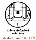Circle icon line urban dotonbori. vector illustration 73681174