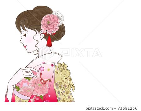 가로 나들이 옷의 여성 (伏し目) 73681256