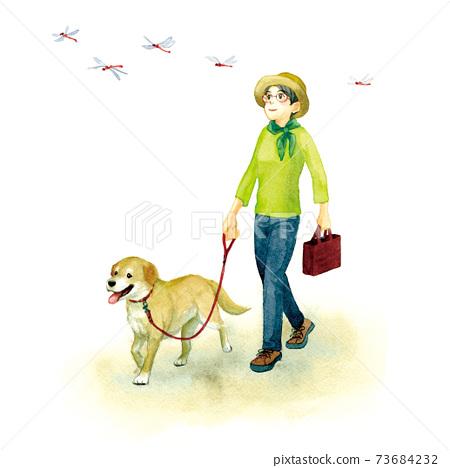 一個女人遛狗 73684232