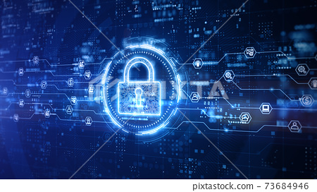 Padlock of Cyber Security Digital Data, Technology Global Network Digital Data Protection, Future Background Concept. 3D Rendering 73684946