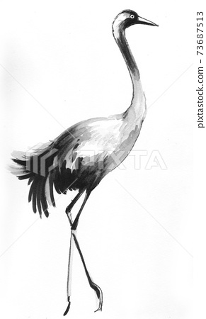 Crane bird. Ink and watercolor drawing 73687513