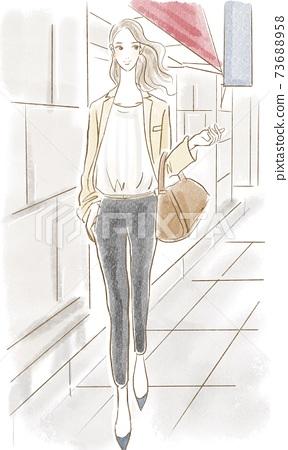 빌딩을 씩씩하게 걷는 사무실에서 일하는 멋진 여자 멋진 일러스트 73688958