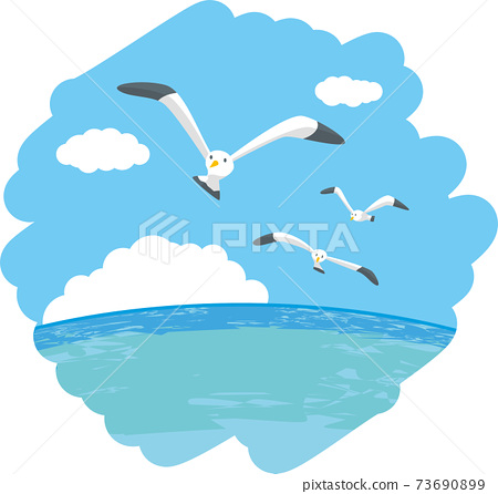 Image illustration of three seagulls flying over the sea 73690899
