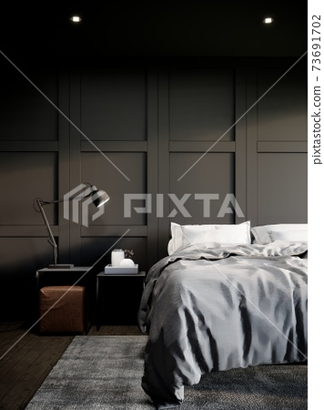 black modern bedroom interior design with furniture. the room have wooden floor, black wall and window. 3d rendering vertical background 73691702