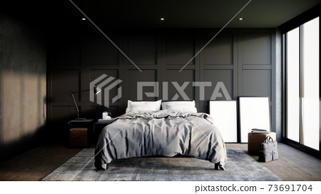 black modern bedroom interior design with furniture. The Rooms have wooden floors, black walls and window. 3d rendering background 73691704