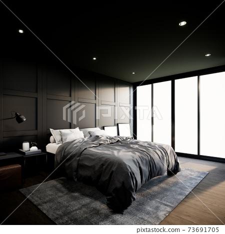 Modern bedroom interior design. The Rooms have wooden floors, black walls and window. 3d rendering background 73691705