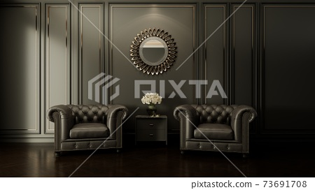 classic room interior with leather armchairs and mirror. 3d render illustration mockup. 73691708