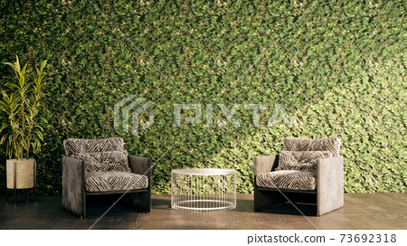 Mock up in stylish interior background, living room with green grass wall, natural style, 3d render 73692318