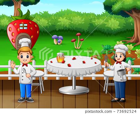 Illustration of two chefs preparing food in restaurant 73692524