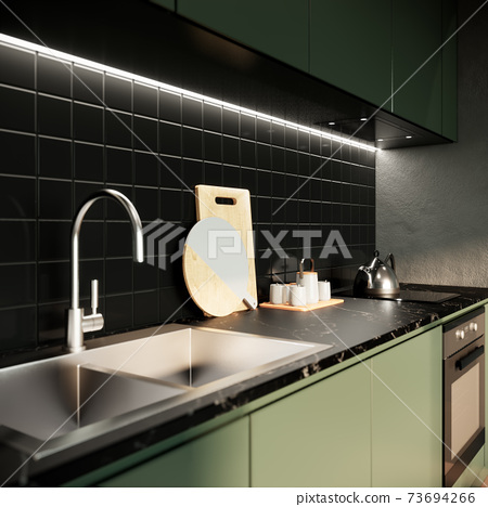 modern green kitchen mock up interior design. contemporary apartment concept. 3D background illustration 73694266