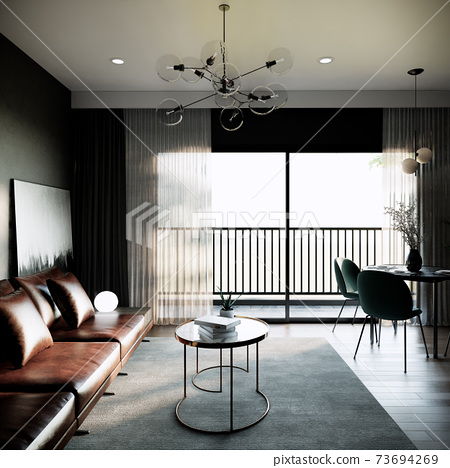 modern classic green room mock up interior design. contemporary apartment concept. the room with balcony. 3D background illustration 73694269