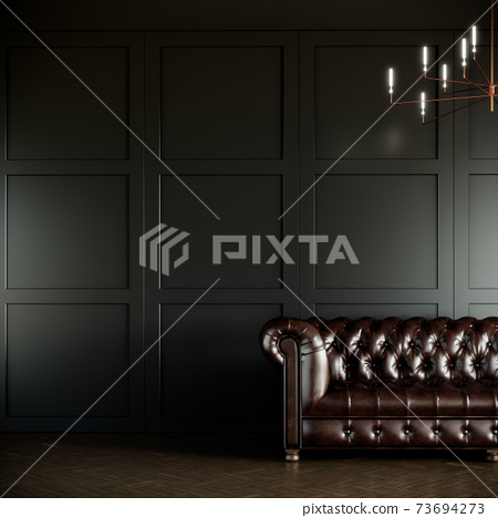 mock up modern classic style room with leather sofa. green room design. 3D illustration background. 73694273