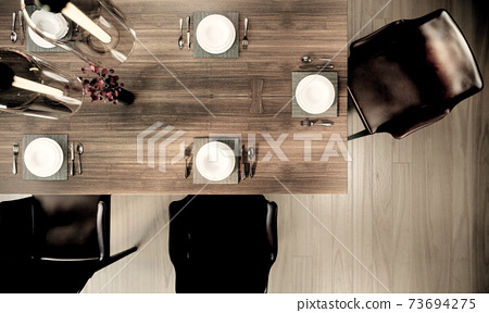 dining room mock up interior design, plates, spoon and fork on a wood dining table. 3D background illustration 73694275