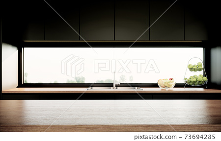 modern kitchen interior with a window and furniture. 3d render background 73694285