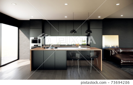 interior of modern kitchen. contemporary apartment concept. 3d rendering 73694286