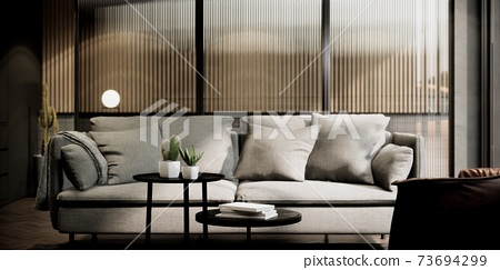 room mock up in modern loft style interior with sofa. interior design. 3D background illustration. 73694299