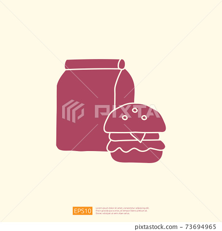 takeaway meal box with burger icon concept. takeaway food silhouette doodle style icon vector illustration 73694965