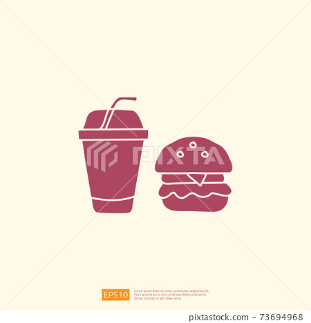 cola and burger doodle. fast food silhouette icon style icon vector illustration 73694968