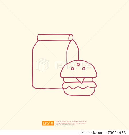 takeaway meal box with burger icon concept. takeaway food line doodle style icon vector illustration 73694978