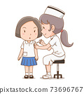 Cartoon illustration of nurse giving an injection to student girl. 73696767