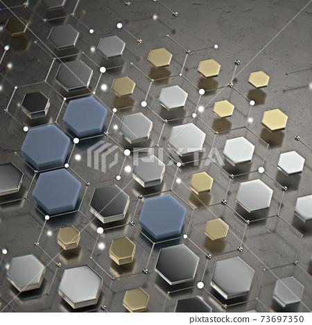 Abstract technological hexagonal background. 3d 73697350