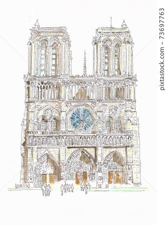 世界遺產城市景觀,在法國巴黎的巴黎圣母院 73697763