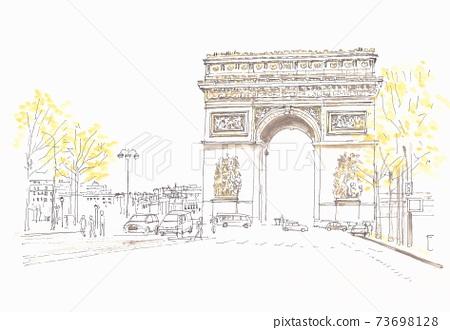 European cityscape, Arc de Triomphe in Paris 73698128