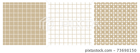 A set of three beige, white geometric patterns. Abstract squares and empty circles. All lines are distorted 73698150