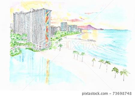 夏威夷威基基的彩虹塔 73698748