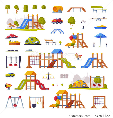 Children Playground Elements with Slide, Swings and Ladders Vector Set 73701122