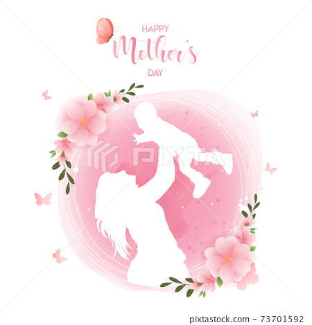 Happy mother's day watercolor greeting card. Premium Vector 73701592