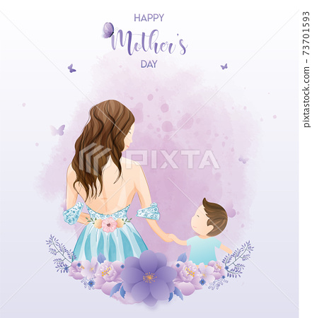 Happy mother's day watercolor greeting card. Premium Vector 73701593