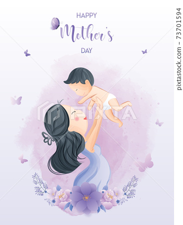 Happy mother's day watercolor greeting card. Premium Vector 73701594
