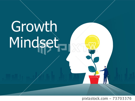 businessman Watering plants with light bulb for put think growth mindset concept vector 73703376