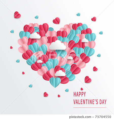 Valentine's day background. Hearts pink and blue papaer cut card on white background. Decor clouds space for text. 73704550