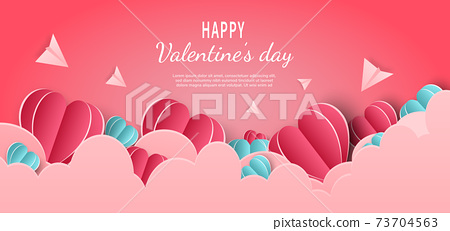 Valentine's day background. Hearts pink and blue papaer cut card on pink background. Decor clouds and plane with space for text. 73704563