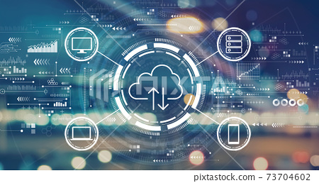 Cloud computing with blurred city lights 73704602