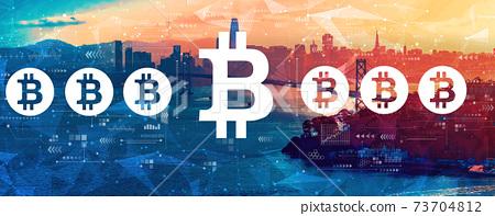 Bitcoin theme with the Bay Bridge in San Francisco 73704812