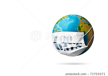 Model of planet Earth coronavirus colored in national USA flag in face mask with sign masks for 100 days in America, concept of pandemic spreading, medicine and healthcare. 73705071