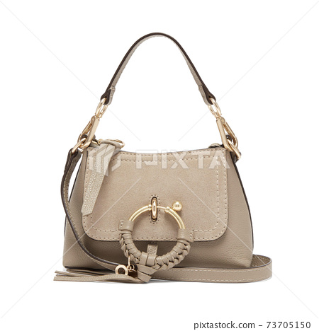 Women's Gray Leather Cross Body Bag Isolated on White. Front View of Beige Lady Shopping Tote Bag. Women Shopper Bags 73705150