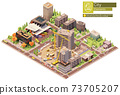 Vector isometric city block with construction site 73705207