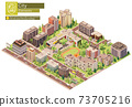 Vector isometric city or town block with school 73705216