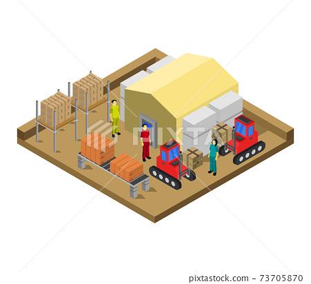 isometric warehouse 73705870