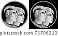 Gemini zodiac sign, monochrome horoscope symbol. Pixel style astrological icon. Stylized black white graphic portrait twins, young guys from future with stylish modern hairstyle undercut hair. Vector. 73706213