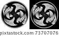Pisces zodiac sign, astrological, horoscope symbol. Pixel monochrome style icon. Stylized graphic black white two fish swimming in a circle. Body decorated with geometric pattern. Vector illustration. 73707076