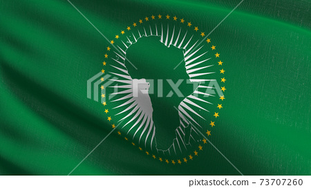 Flag of African Union. 3D rendering illustration of waving sign symbol. 73707260