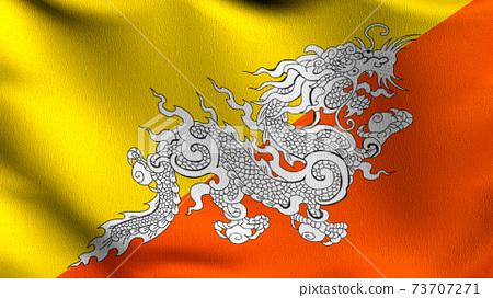 National flag of Bhutan. 3D rendering illustration of waving sign symbol. 73707271