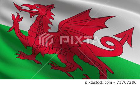 Flag of Wales or welsh. 3D rendering illustration of waving sign symbol. 73707286
